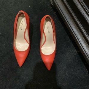 Nine West Leather Orange Heels